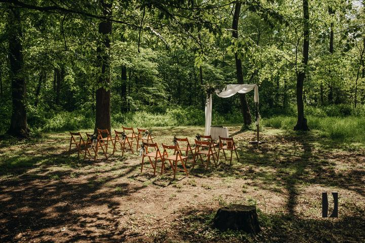 svatební obřad u lesu