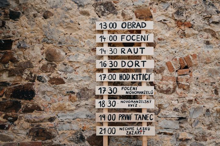 svatební orientační tabule a hramonogram svatebního dne