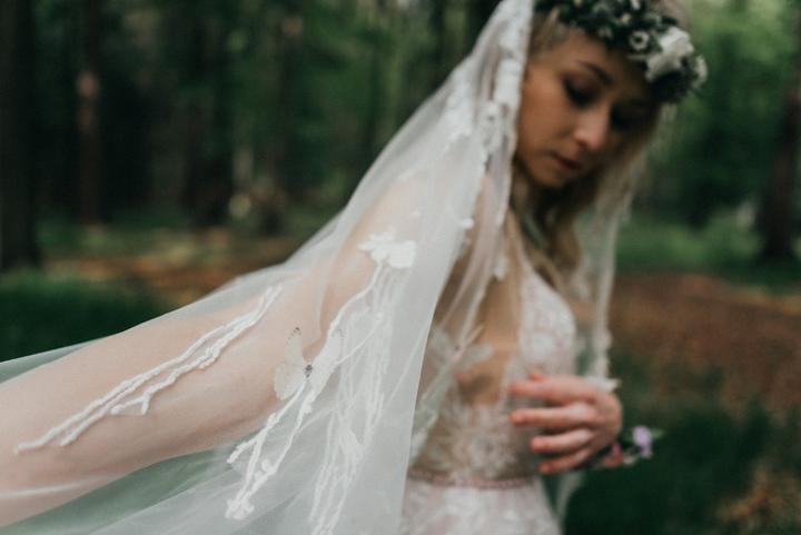 boho svatební závoj