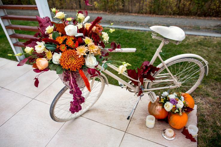 dýně v podzimní svatební výzdobě