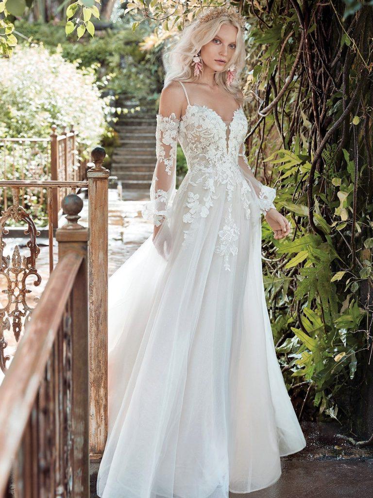 svatební šaty s odepínatelnými rukávy